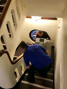 Cobb Technologies Service Team Taking Out Old Printer