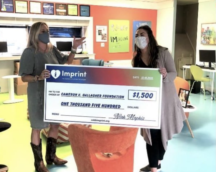 2020 Check presentation to the Catherine K Gallagher Foundation