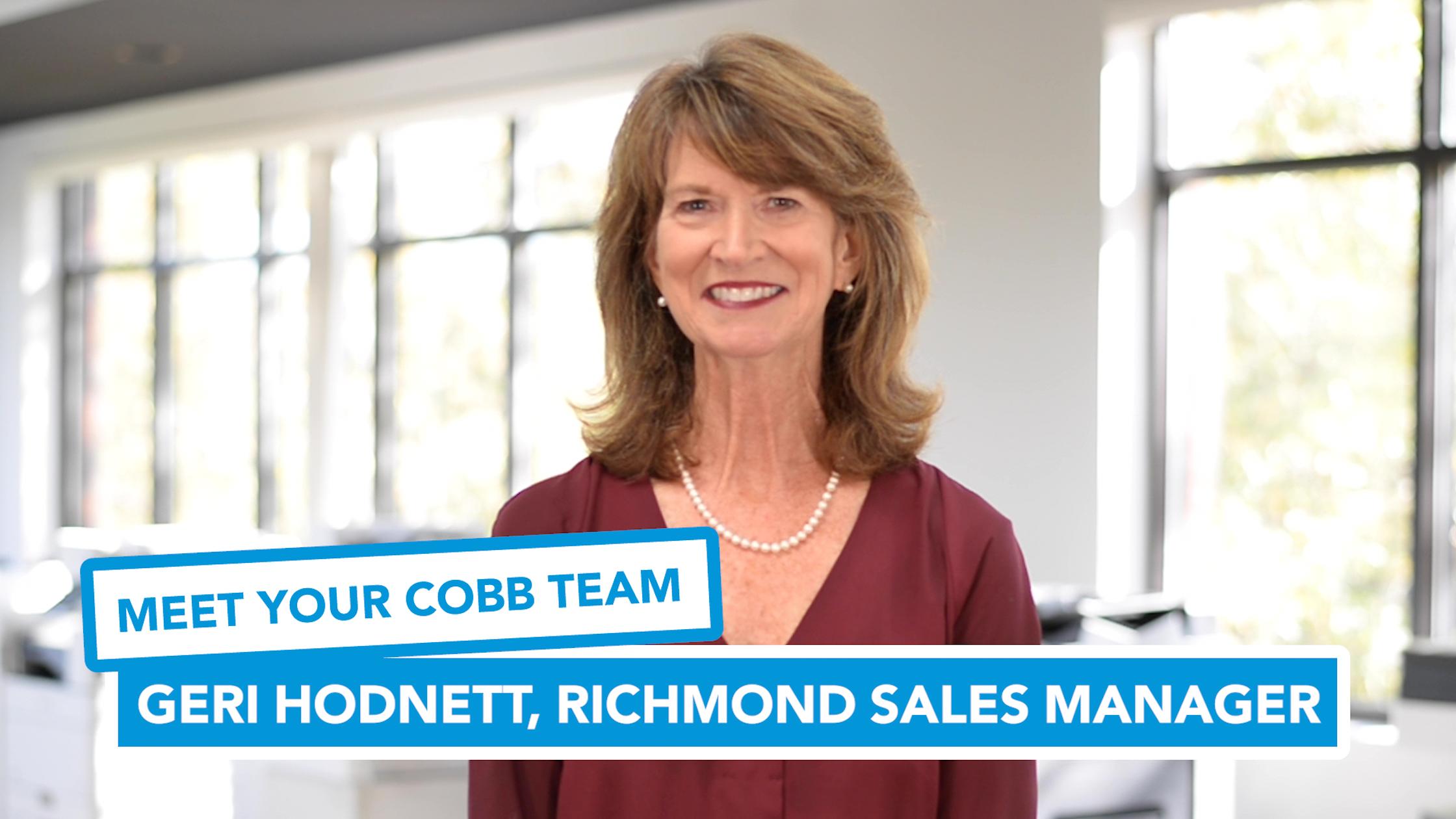 Meet Your Cobb Team: Geri Hodnett, Richmond Sales Manager